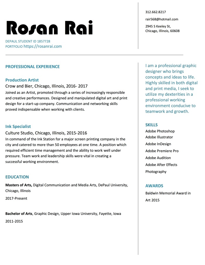Rosan Rai Resume